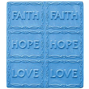 Milkyway Soap Mold Faith Hope Love 6 Bar Tray